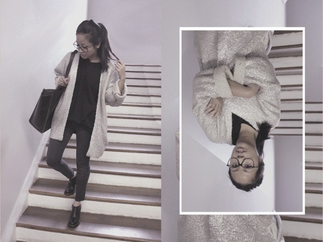 OOTD: Silberner H&M Trend Cardigan & Jil Sander Hermes Boots
