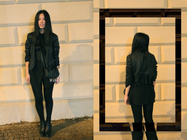 OOTD: See-Trought Blouse + Marc Cain Fringe Leather Jacket