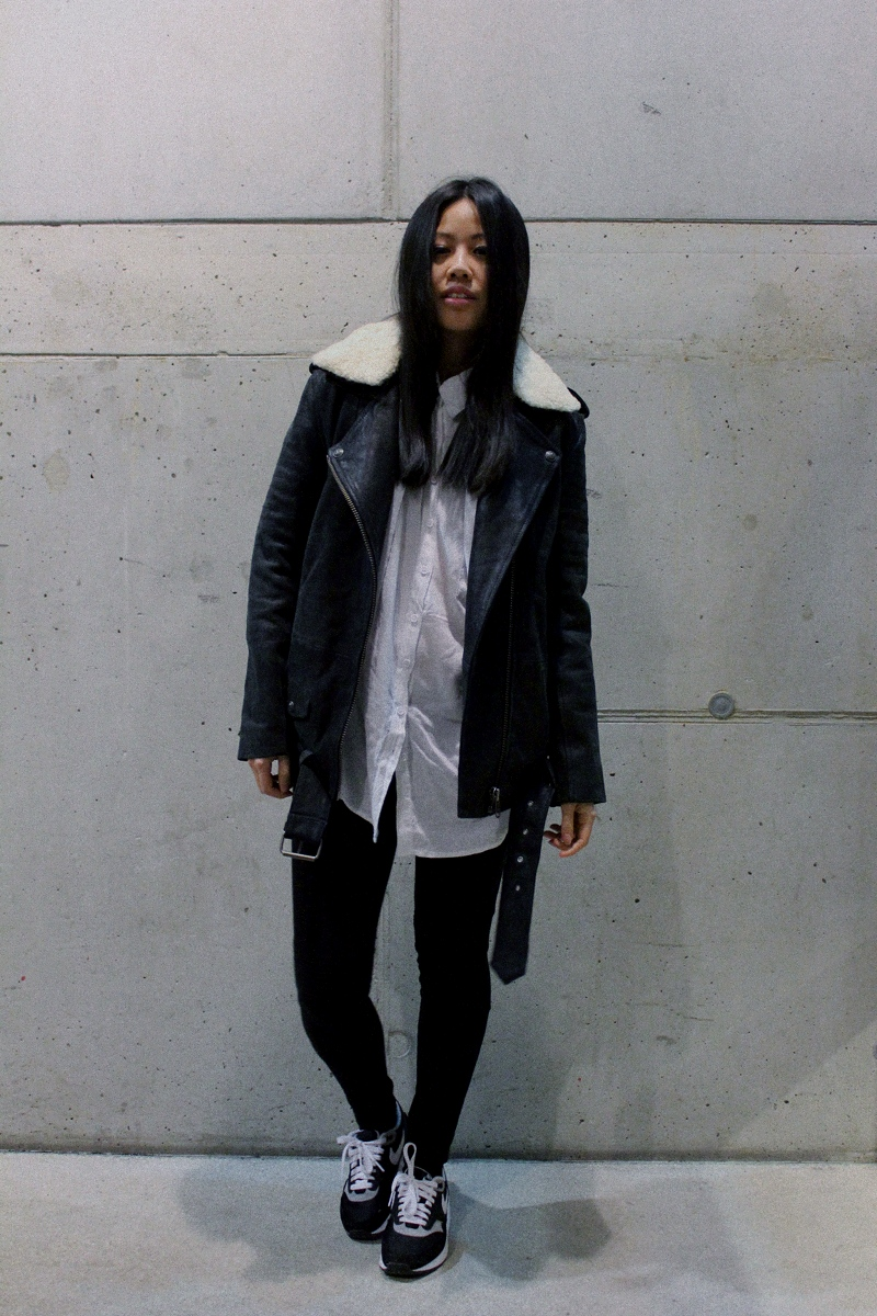 OOTD: DIY Sweater Cardigan + The Kooples Lederjacke