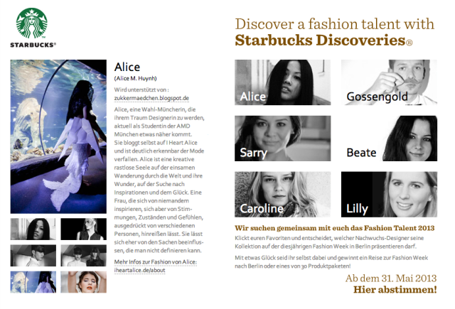Discover a fashion talent with Starbucks Discoveries! - Vote for Alice M. Huynh