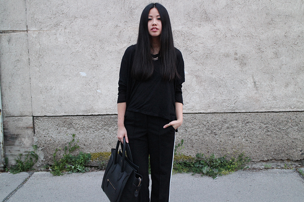 OOTD: Acne Track Boots, Céline Luggage Bag & Forever 21 Pants