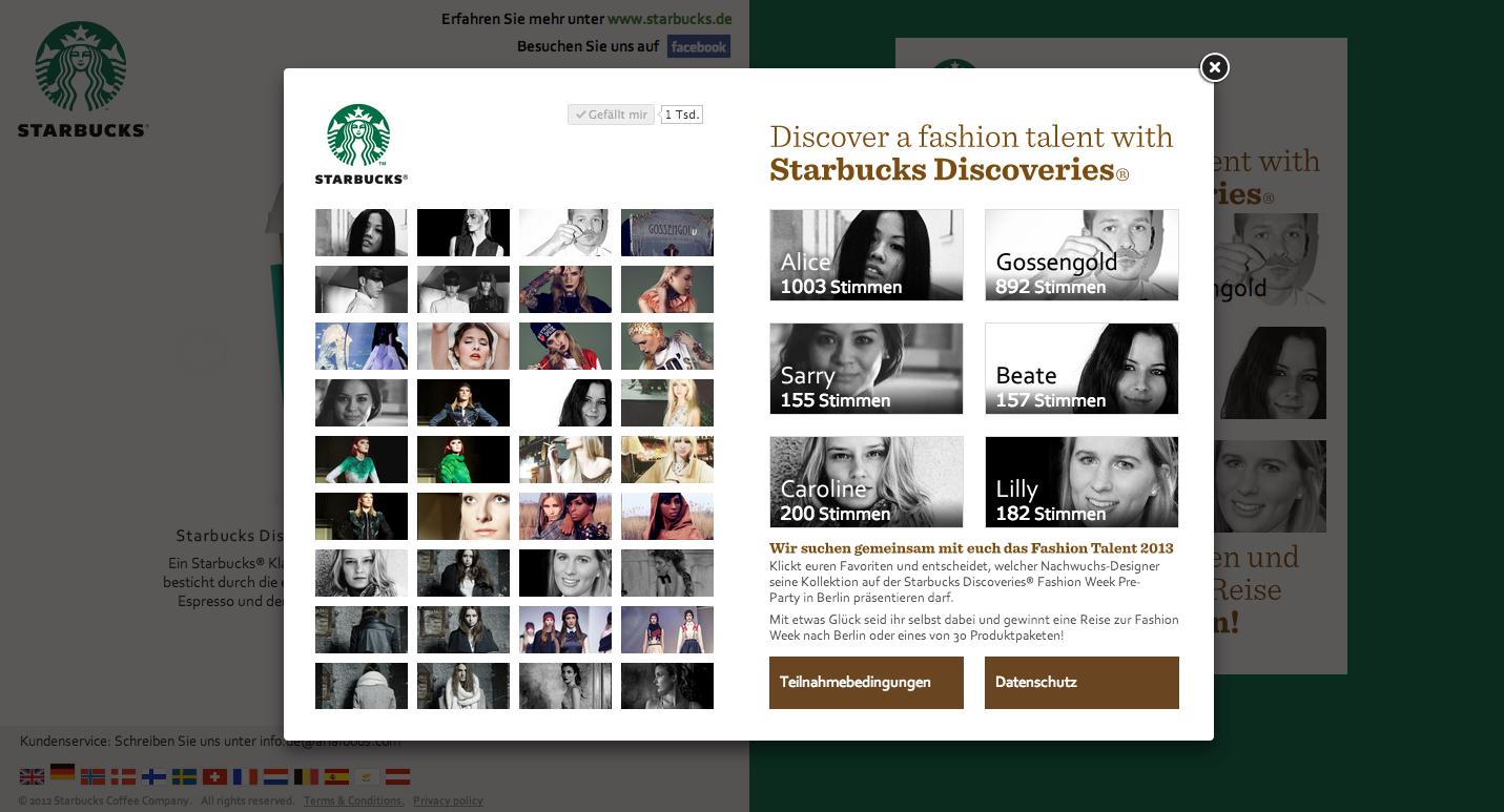 Starbucks Fashion Talent 2013 - Vote for Alice!