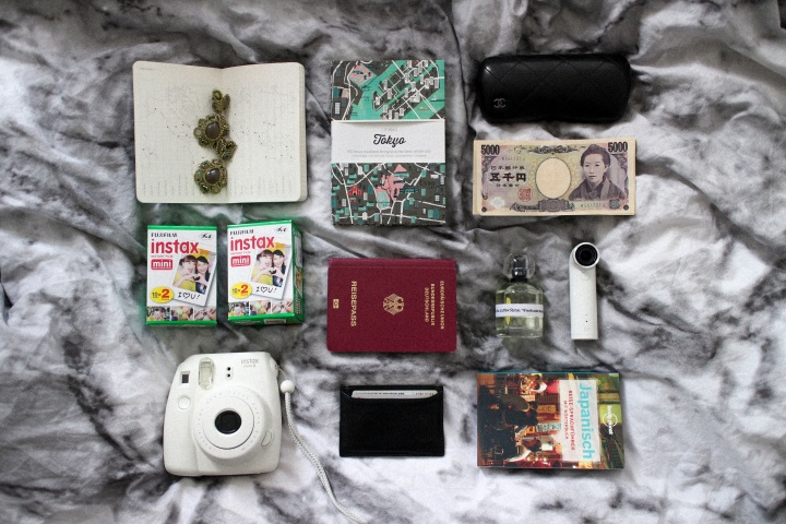 What's in my Bag? – Fujifilm Instax Mini 8, CITIx60 Tokyo Cityguide, HTC re camera, Moleskin notebook, black Prada cardholder, &OtherStories Parfume