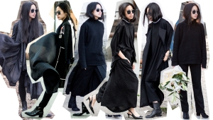 I heart Alice, Max Mara, all black everything, Cashmere Turtleneck, Non Tokyo, Japan, Streetstyle, Alexander Wang Anouk Boots, Yohji Yamamoto, Leatherjacket, Pointy Pumps,