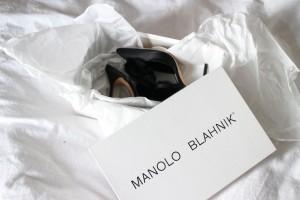 Manolo Blahnik - Crespo Satin Black Pumps