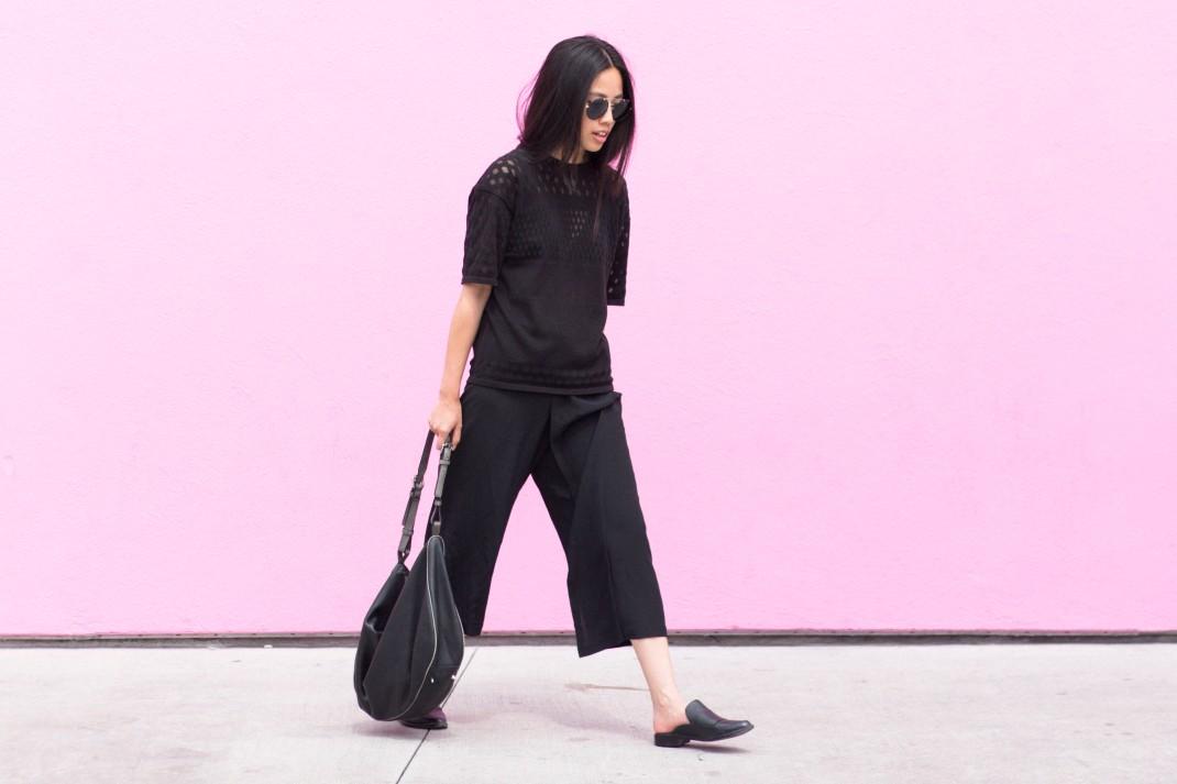 I HEART ALICE Looks: Helmut Lang Shirt, Yohji Yamamoto Silk-Pants, Tibi NY Denni Loafers & Prada Shades