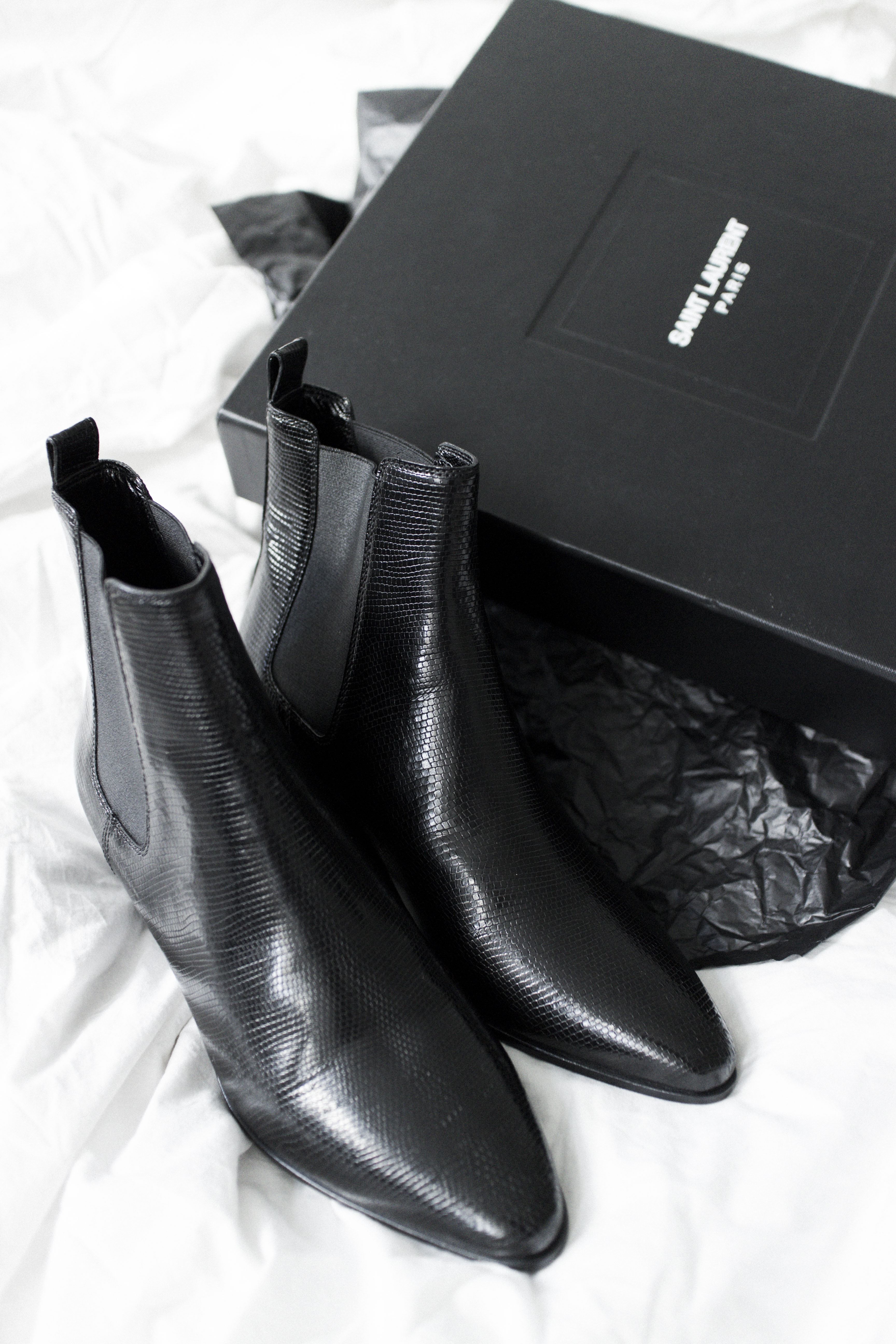Saint Laurent Paris: Black Rock Chelsea Lizard Stamped Boot