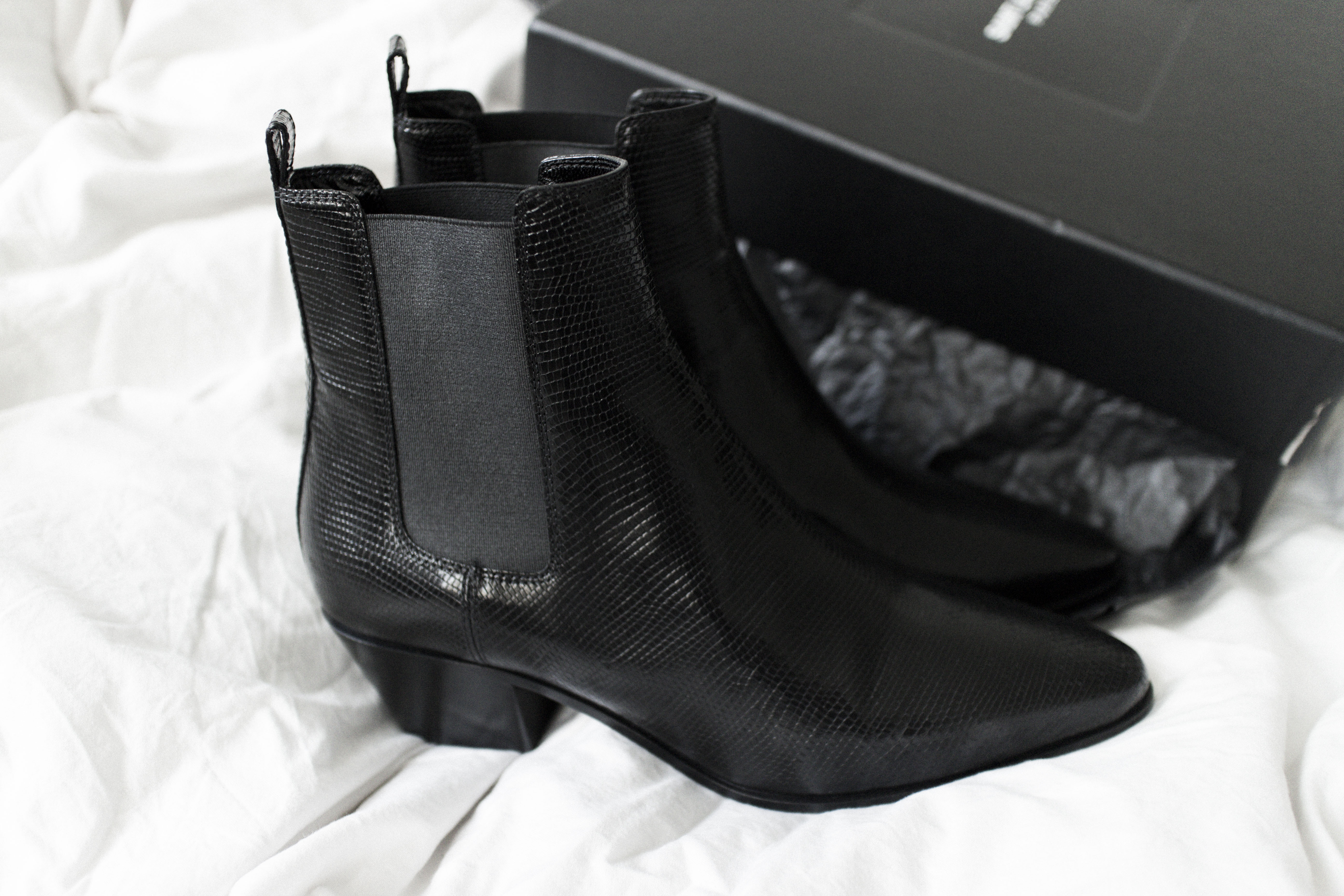 Saint Laurent Paris Black Rock Chelsea Lizard Stamped Boot