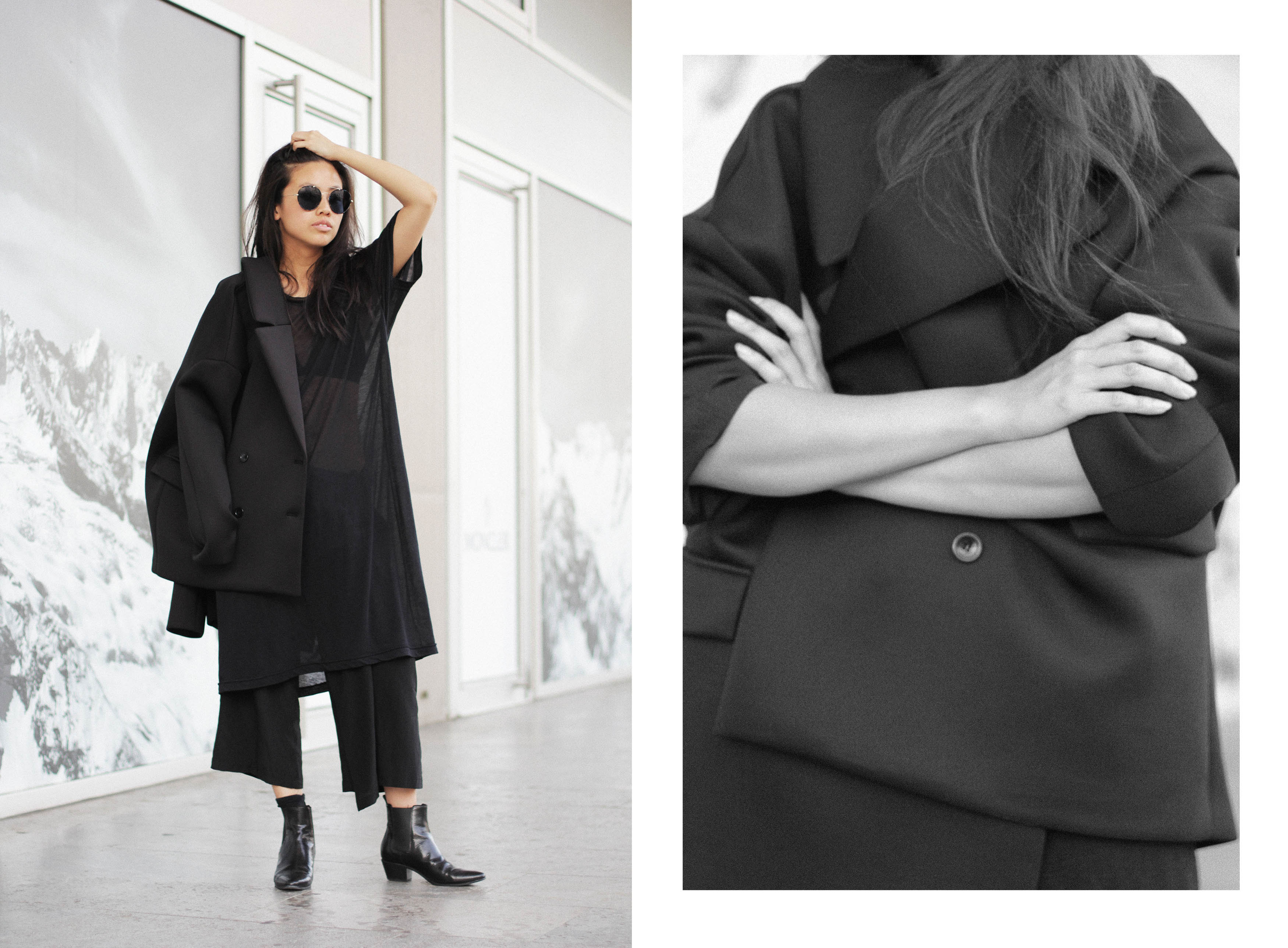 IHEARTALICE – Fashion & Travel Blog from Berlin/Germany by Alice M. Huynh: All Black Everything Look with Weekday Neopren Jacket, OAK NY T-Shirt Dress, Yohji Yamamoto Silk Pants, Prada Shades & Saint Laurent Paris Chelsea Boots