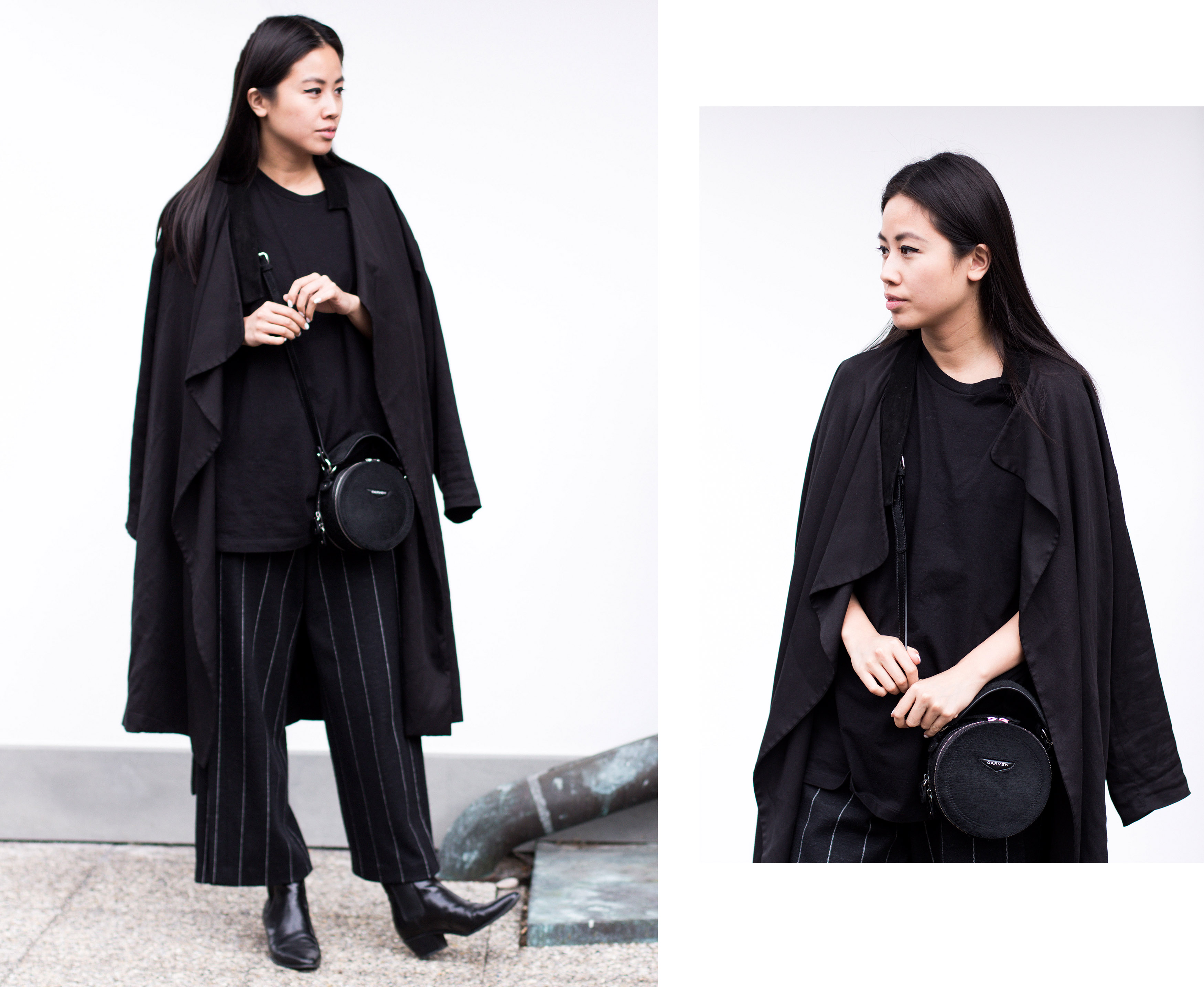 IHEARTALICE – Travel, Lifestyle & Travel-Blog from Berlin/Germany by Alice M. Huynh: OOTD by Alice wearing All Saints Black Trenchcoat, Maison Martin Margiela Men T-Shirt, Odeeh Wool Pinstripe Pants, Saint Laurent Lizard Stamp Boots, Carven Black Leather Circular Bag