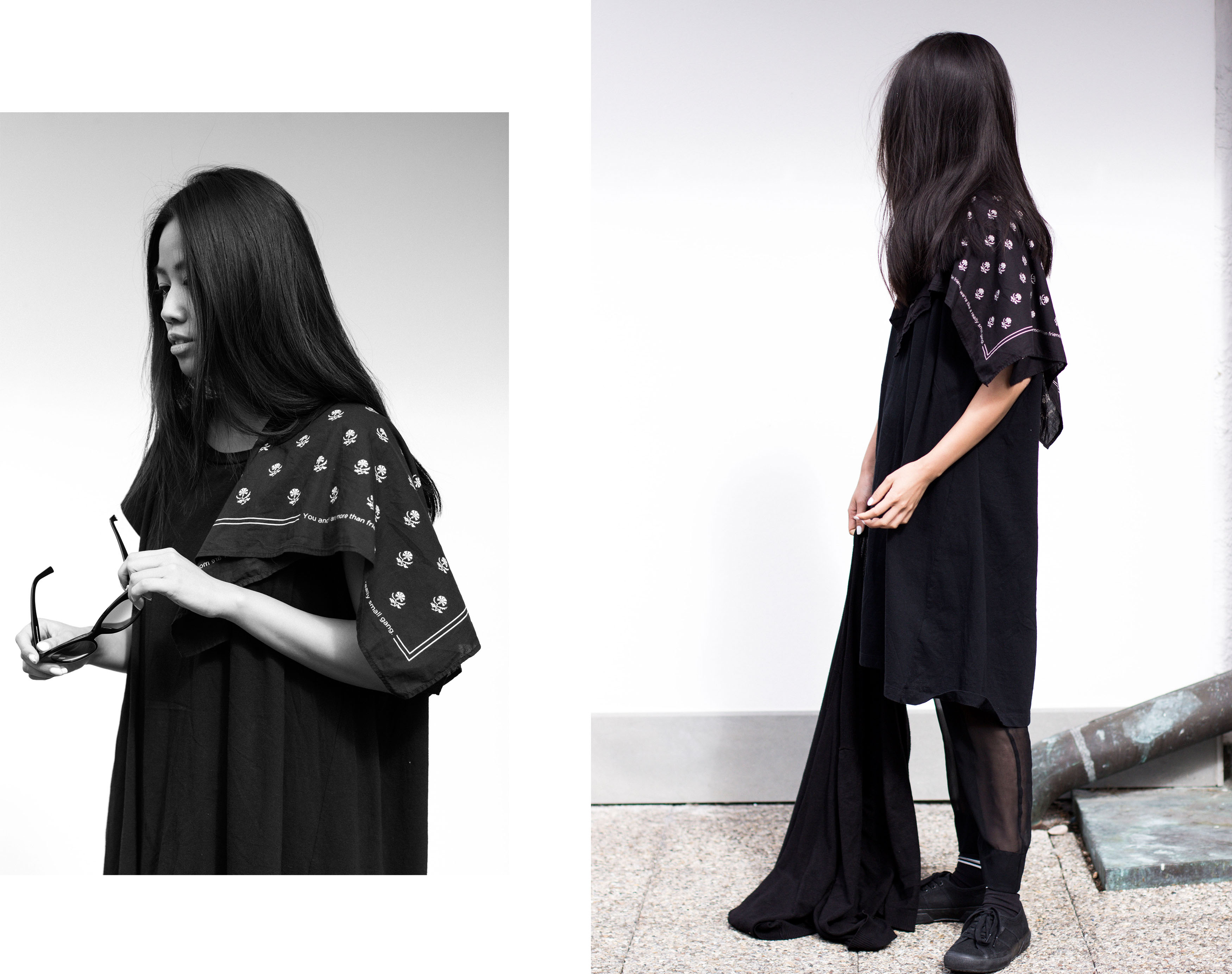IHEARTALICE – Travel, Lifestyle & Fashion-Blog from Berlin/Germany by Alice M. Huynh: Alice OOTD wearing MM6 Foulard Dress, Vince Silk See-Through Trousers, Black Superga, Rodenstock Shades