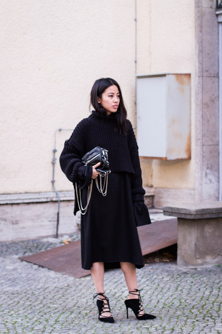 IHEARTALICE.DE – Travel, Lifestyle & Fashion-Blog from Berlin/Germany by Alice M. Huynh: All Black Everything Look – Elegant Style wearing Alice M. Huynh A-Line Dress, Ghillies-Style High-Heels, Alexander Wang Brenda Leather Bag in Black, Alexander Wang RTW Knit-Jumper